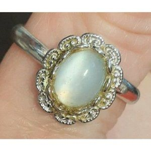 Vintage Sarah Coventry Signed Light Blue Grey Stone Open Sized Adjustable Ring
